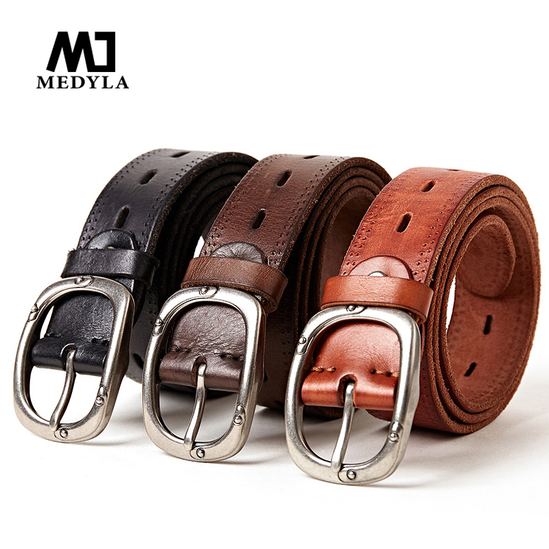Medyla Men Top Natural Leather Casual High Quality Belt Vintage Design Pin Buckle Genuine Leather Belts Male Waistband Free Ship