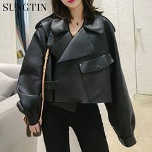 Sungtin, chaqueta de piel sintética para mujer, abrigos sueltos y suaves de estilo Vintage para motorista, abrigo de piel sintética con bolsillos cortos, chaqueta negra para otoño, abrigo de piel de calle
