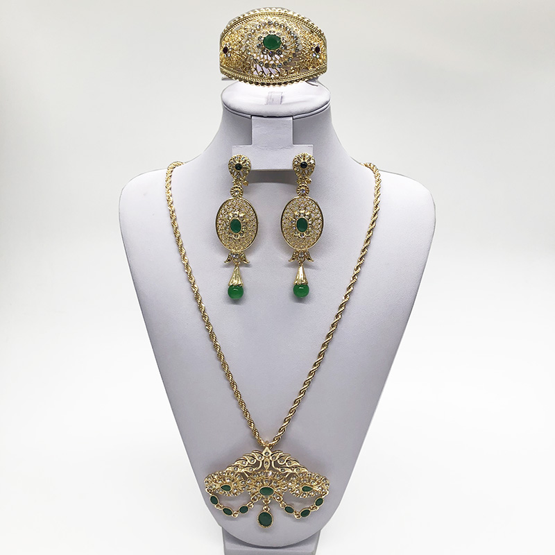 Morocco hot selling wedding jewelry set for women water-drop shape pendant fashion green crystle jewelry necklace/bracelet/earr Women Women's Accessories f02846ee759da375bf7e2a: gold1|gold2