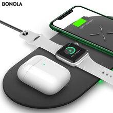 Bonola 3 In1 טעינה אלחוטי Pad עבור iPhone 11Pro/11/XAR/XsMax מטען Dock עבור אפל שעון 5 אלחוטי מטען עבור AirPods פרו