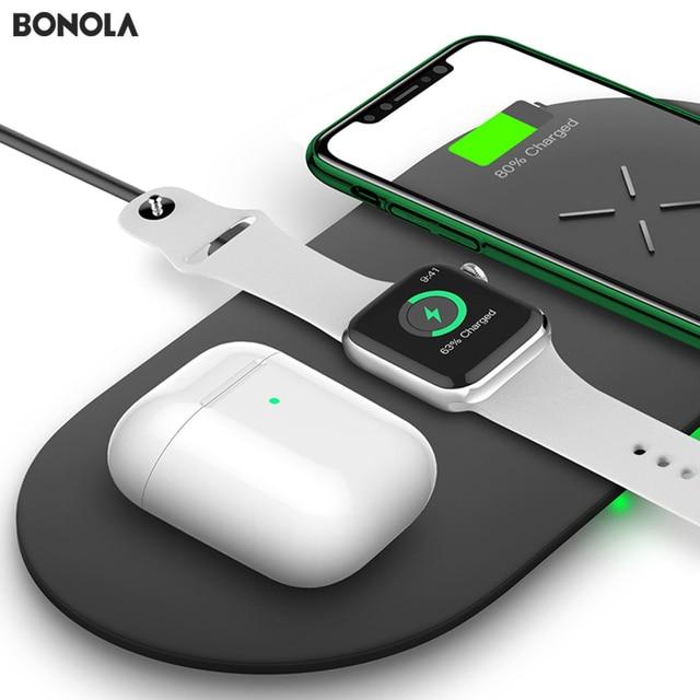 Bonola 3 In1 Wireless Charging PadสำหรับiPhone 11Pro/11/XAR/XsMaxแท่นชาร์จสำหรับApple Watch 5 Wireless ChargerสำหรับAirPods Pro