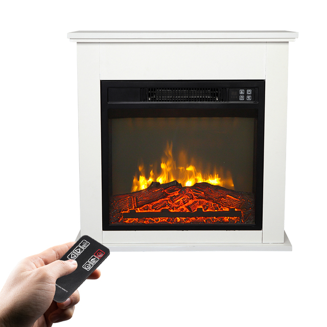 Electric Fireplace w/ White Wood Cabinet  3