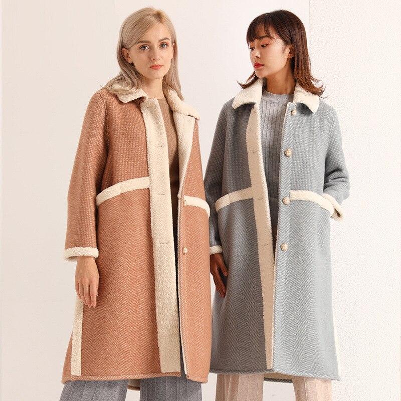 women's faux fur coats long teddy bear coat ladies clothing overcoat plus size orange wool blends 2019 autumn winter free ship