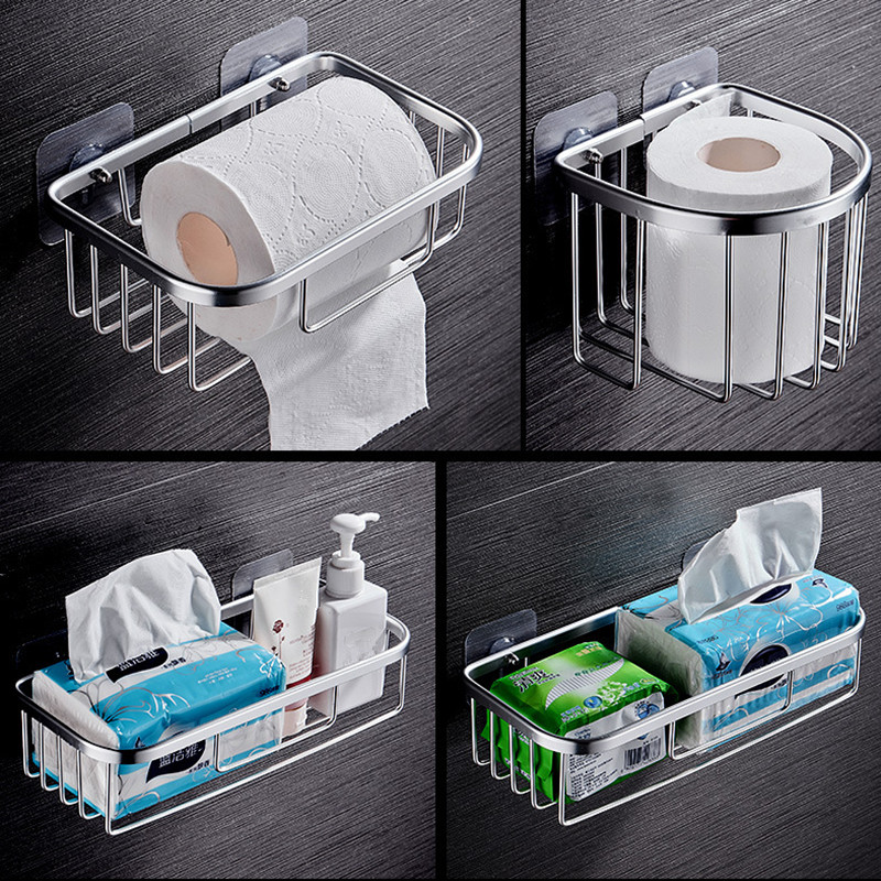 Suction Cup Toilet Roll Paper Rack Shampoo Holder Hollow Out Towel Storage Wall Hanging Basket For Bathroom Of Hotel And Home
