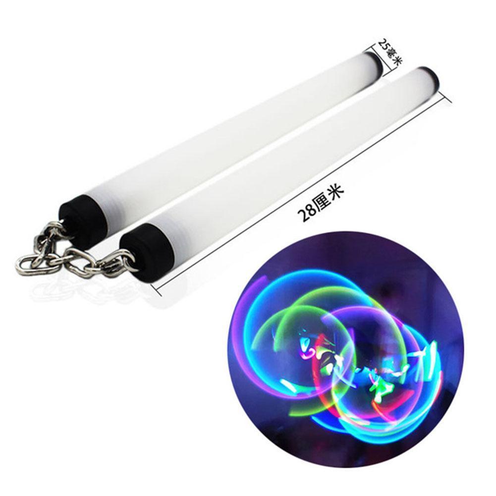 Fluorescent Foam Nunchaku Metal Chain Performance Stick Vibration Beginner Safety Sponge Nunchaku Luminous Luminous N3Y5