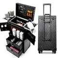 Feito à mão grande volume multifuncional cosméticos rolando bagagem profissional ferramentas de cabeleireiro marca personalizado mala