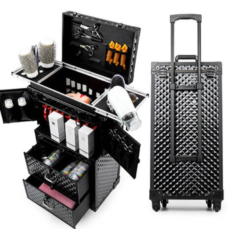 Handmade Large Volume Multifunctional Cosmetic Rolling Luggage Professional Hairdressing Tools Brand Custom Suitcase