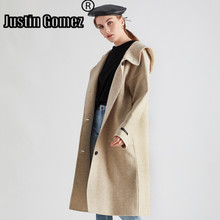New Double-sided Cashmere Coat With Hood Slim Type Autumn Winter Wool Coat With Large Pockets Straight Long Sleeve Women Coat стоимость