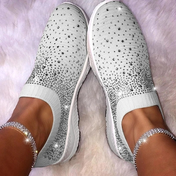 Fashion Sock Sneakers Women Bling Shoes Vulcanized Shoes Female Casual Tenis Feminino Slip on Loafers Shoes Zapatos De Mujer