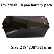 Водонепроницаемый Lifepo4 12V 220AH Lifepo4 аккумулятор 100A BMS 4S 12,8 V для 1200W Инвертор солнечной энергии караван холодильник+ 10А зарядка
