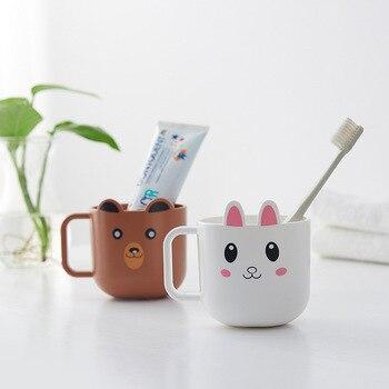 Creativa tazas plásticas para bebidas niños lavar tazas oso patito agua tazas de aprendizaje cepillado de beber de la taza baño bebiendo utensilios
