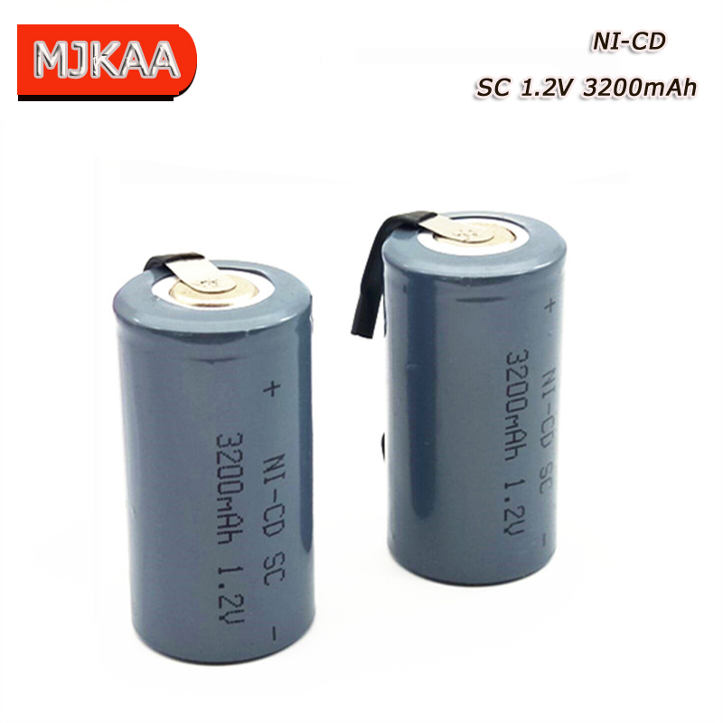 12PCS <font><b>SC</b></font> <font><b>1.2V</b></font> 3200MAH <font><b>rechargeable</b></font> <font><b>battery</b></font> 4/5 <font><b>SC</b></font> Sub C ni-cd cell with welding tabs for electric drill screwdriver image