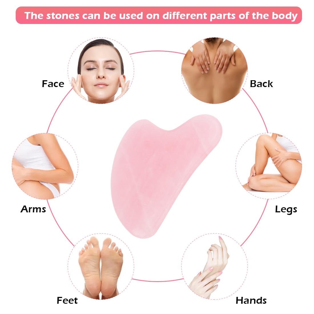 Rose Quartz Face Massager Gua Sha Scraper Natural Jade Stone Skin Care Massager for Body Facial Neck Back Beauty Health Eye SPA 5
