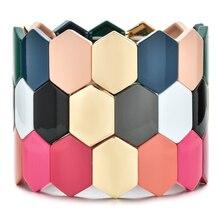 ZMZY creativo hecho a mano grandes pulseras geométricas de la amistad de la vendimia para las mujeres joyería Pulseiras esmalte pulsera con mosaico Boho moda