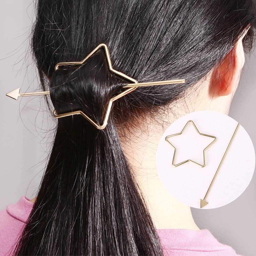 Panah Sederhana Garpu Bintang Rambut Stick Klip Girls Minimalis Geometris Jepit Rambut Wanita Pesta Pernikahan Rambut Perhiasan Aksesoris