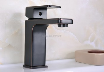 Modern Style Square Black Oil Brass Single Hole Bathroom Wash Basin Faucet Mixer Tap Lnf664