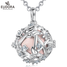Eudora 20mm Harmony Bola Ball Cage Pendant Butterfly daisy flower cage necklace fit Chime Jewelry For mom baby K358