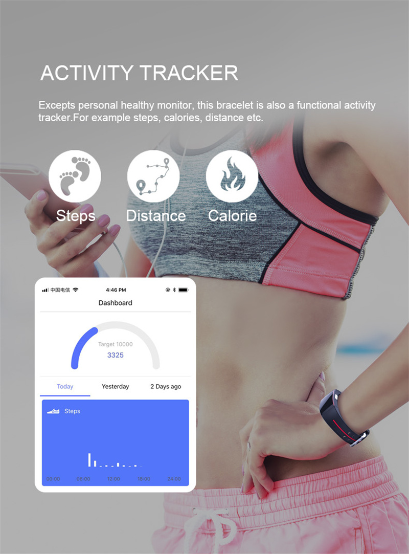 cardíaca ip67 waterpoof pedômetro esportes pulseira de fitness