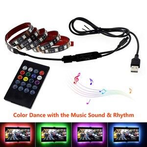 Image 5 - USB LED Strip 5050 RGB Flexible LED Light DC5V RGB Color Changeable TV Background Lighting.