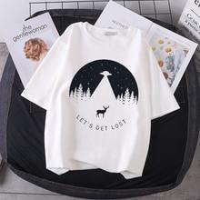 New Ins Cosmic Belief Harajuku Tee Shirt Summer Women's T-shirts Fashion Top Cartoon Printed Letter Short-sleeved Casual T-shirt