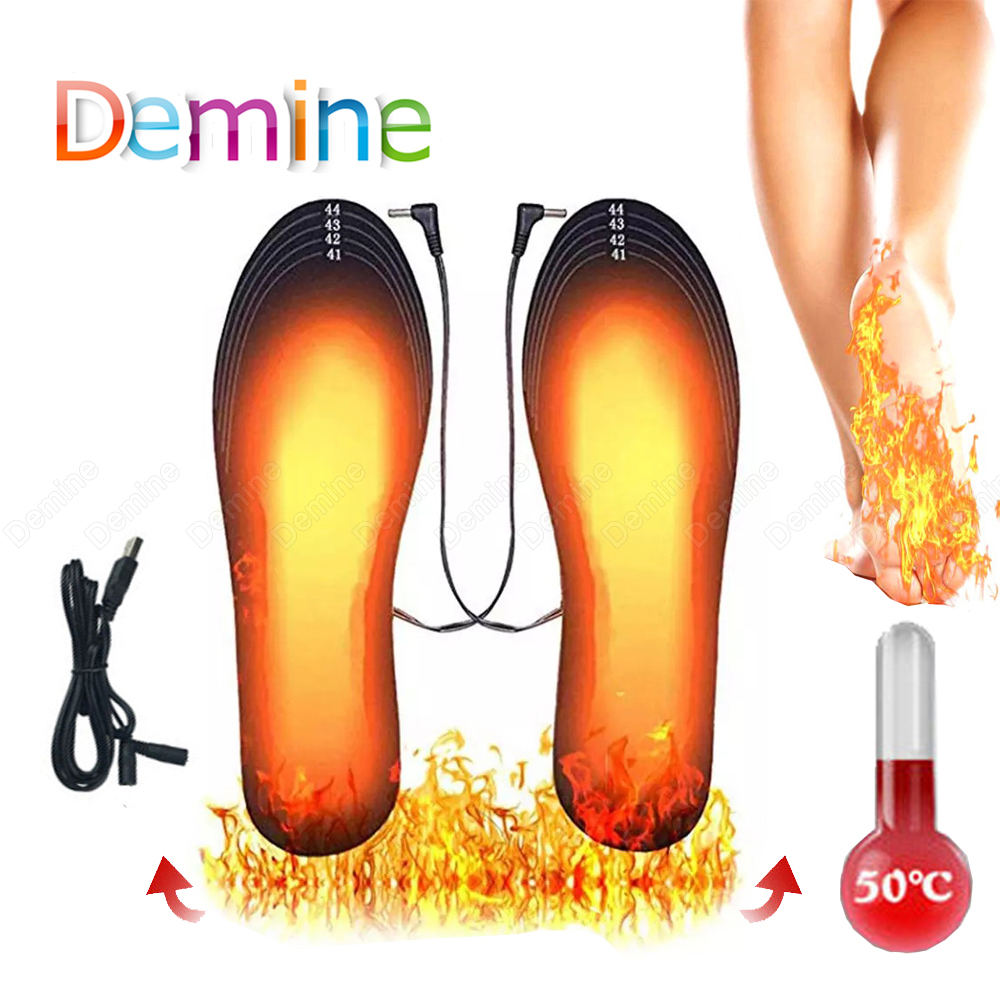 Winter Usb Heated Shoe Insoles Foot Warm Socks Pad for Unisex Electric Battery Heating Shoe Inserts Thermal Carbon Fiber Insoles
