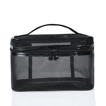 1PCS Women Men Necessary Portable Cosmetic Bag Transparent Travel Organizer Fashion Large Black Toiletry Bags Makeup Pouch