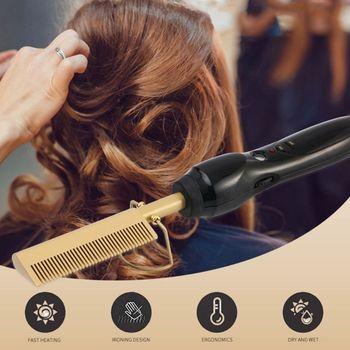 цены Electric Comb Straightener Curler Hair Curling Beard Irons Straightening Combs Hair Styling Tool