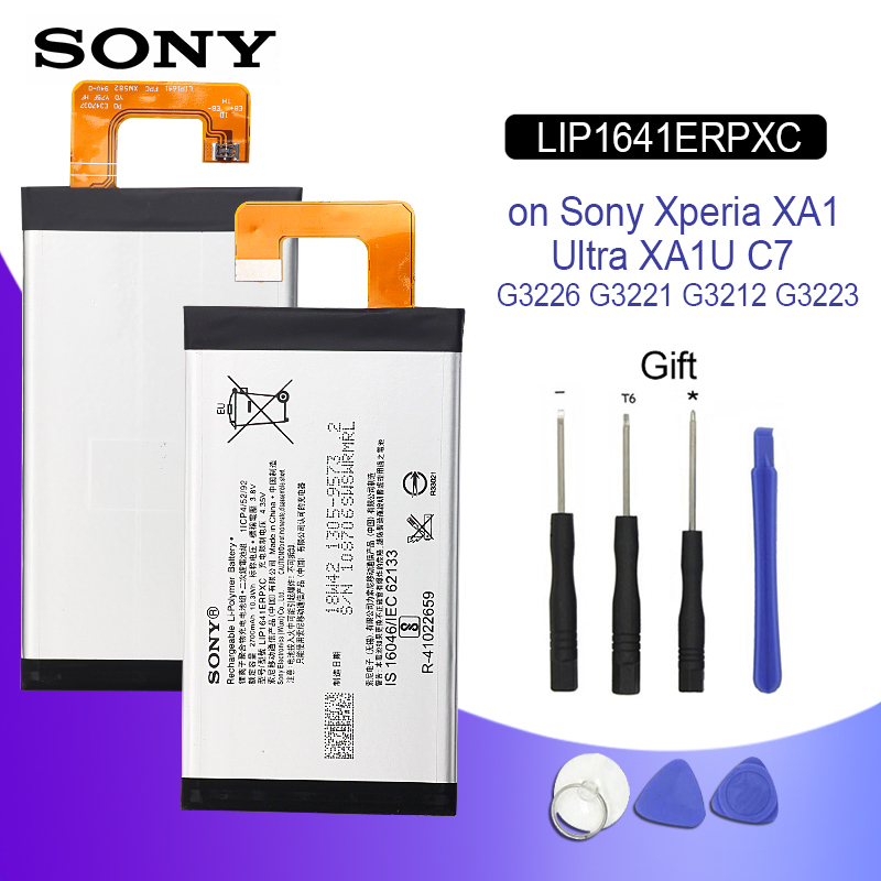 SONY Original Phone Battery For Sony Xperia XA1 Ultra XA1U C7 G3226 G3221 G3212 G3223 LIP1641ERPXC 2700mAh Batteries + Tools