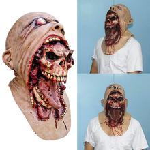HOT البيع ذوبان الوجه اللاتكس الكبار الدموي غيبوبة قناع هالوين مخيف تأثيري الدعامة زي