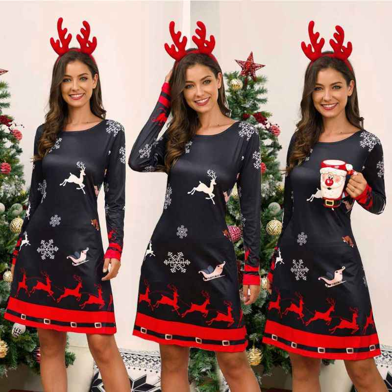 Women Christmas Dress Santa Snowman Long Sleeves Xmas Ladies Short Mini Dress