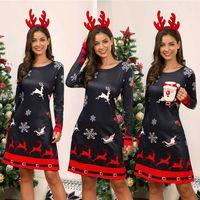 Женское рождественское платье снеговик Снежный олень с длинным рукавом Рождественская вечеринка А-силуэт мини платье размера плюс S-3XL
