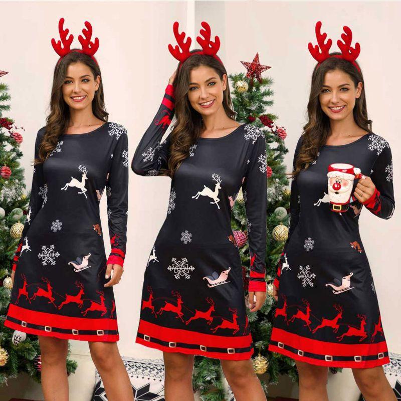 Women's Xmas Dress Snowman Snow Reindeer Long Sleeve Christmas Party A-Line Mini Dress Plus Size S-3XL