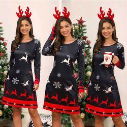 Women's Xmas Dress Snowman Snow Reindeer Long Sleeve Christmas Party A-Line Mini Dress Plus Size S-3XL 1