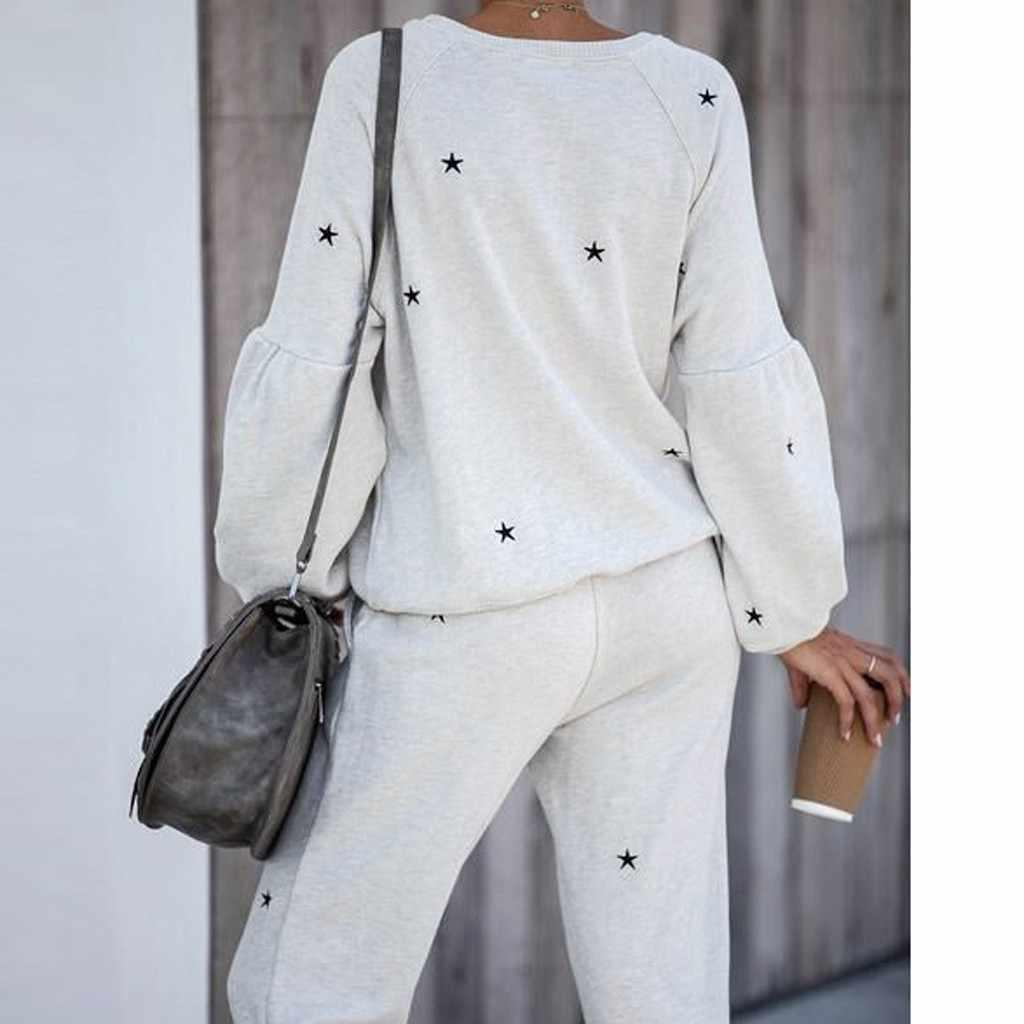 2Pcs Wanita Pakaian Latihan Yg Hangat Pentagram Cetak Celana Set-Wear Lounge Wear