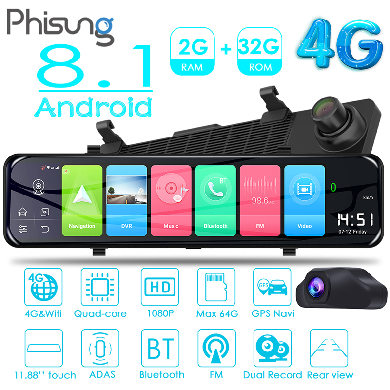 Phisung Z70 FHD 1080P Android 8.1 Car Rearview Mirror DVR Camera 11.88 Dual Lens 4G WiFi Bluetooth ADAS Dashcam Video Recorder image
