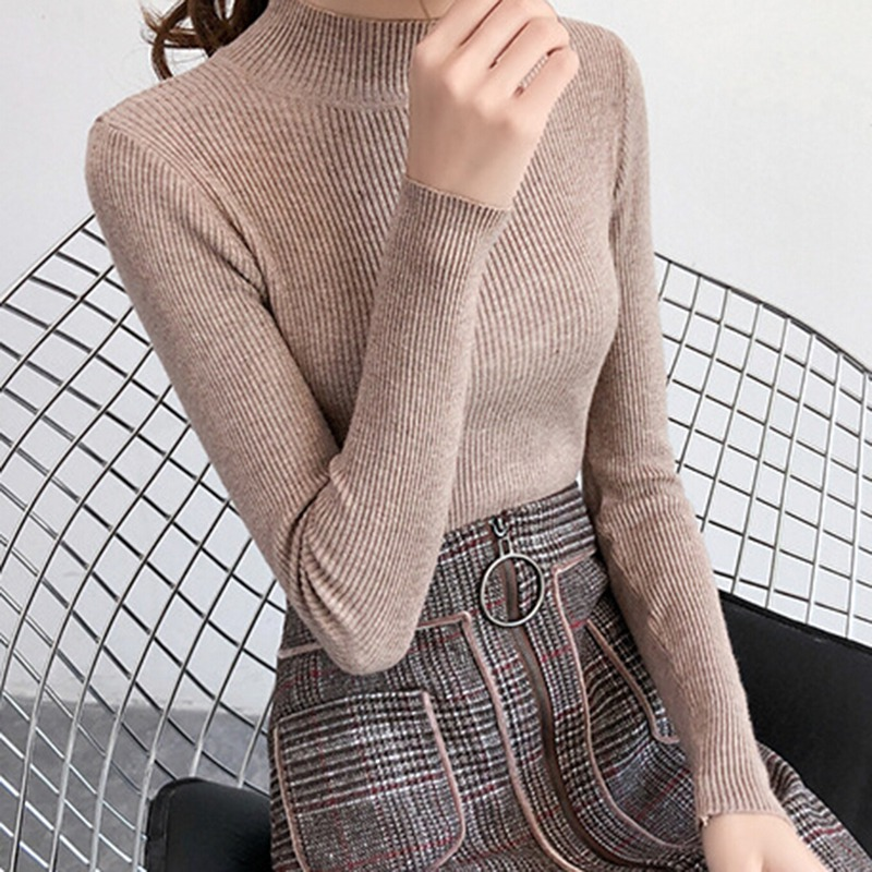 2019 Autumn Winter Sweater Women Long Sleeve Pullover Women Slim Solid Basic Sweaters Turtleneck Korean Style Knit Tops!