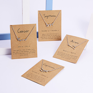 12 Constellation Zodiac Sign Pendant Necklace Silver Color Short Chain Choker Leo Libra Necklace Wish Card Jewelry Birthday Gift