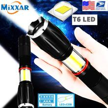 EZK20 Dropshipping LED Handheld Tactical Flashlight 18650 COB Lantern Magnetic 6 Modes Water Resistant for Emergency