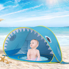 Baby Beach Tent Pool Shark Pop Up Portable Sun Shelter Tent with Pool UPF 50+ UV Protection Waterproof Sun Tent Beach Shade