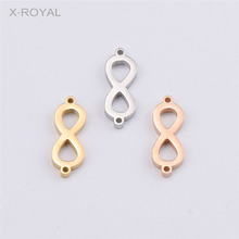 X-ROYAL 10Pcs/lot 7*21mm Lucky Figure Eight 8 Shape Charm Connectors Stainless Steel Rose Gold Double Hole Pendant Connector DIY