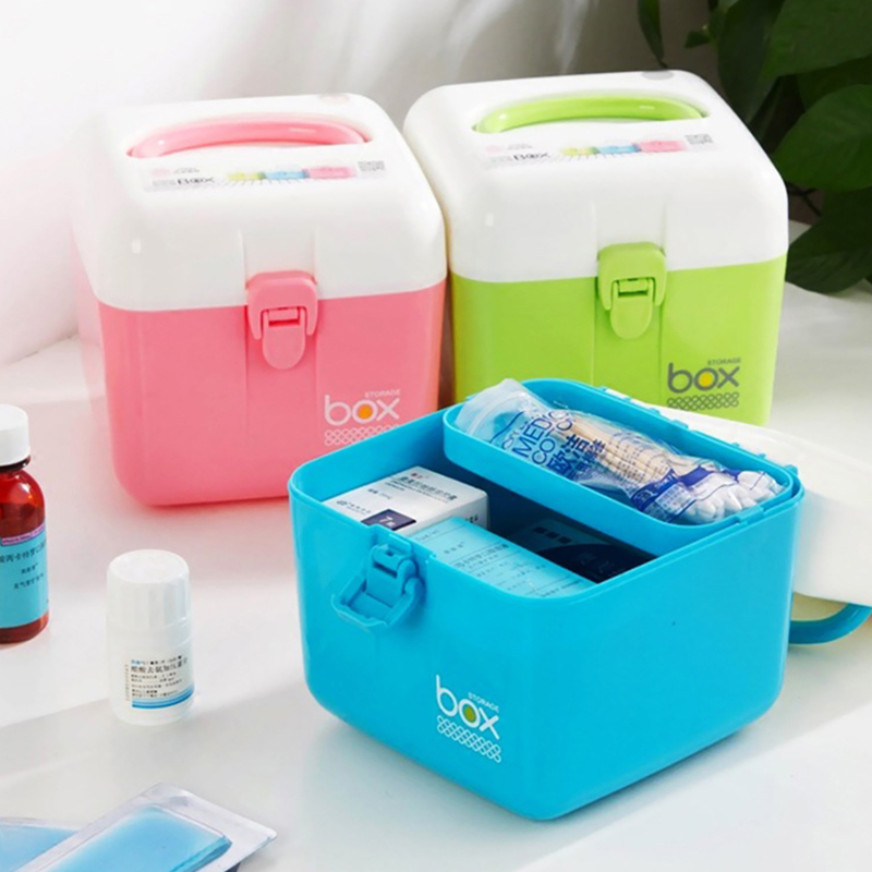 Home First Aid Kit Medical Kit Multi-Layer Small Medicine Box Household Medicine Storage Box Baby Medical Medicine Box
