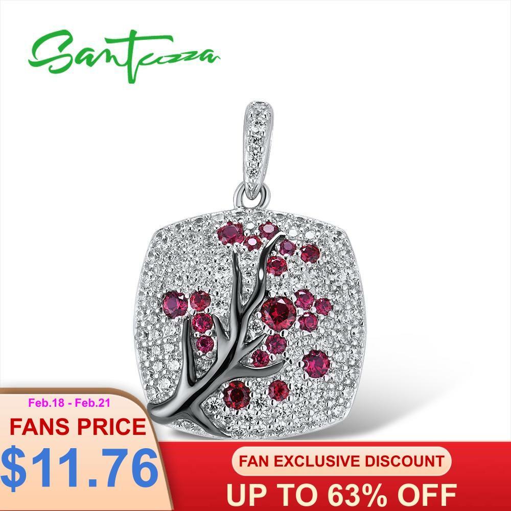 SANTUZZA Silver Pendant For Women 925 Sterling Silver Sparkling Pink Cherry Tree CZ Delicate Fashion подвеска кулон Fine Jewelry