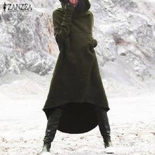 2021 ZANZEA las mujeres con capucha de manga larga de lana de bolsillos Sudadera larga con bajo asimétrico Vestido sudaderas con capucha suéter Vestido de talla grande
