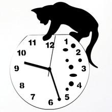 Zegar ścienny nowoczesny klasyczny kot akrylowy zegar ścienny nowoczesny designerskie dekoracje do domu zegarek naklejki ścienne w stylu vintage cyfrowy retro 19AUG20 tanie tanio Aimecor Nowoczesne Fashion Clock circular Z tworzywa sztucznego Pojedyncze twarzy 19mm 450g Mechaniczne 9mm blachy Streszczenie