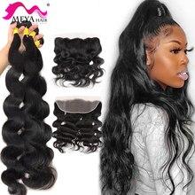 MAYA 30 32 40 инч объёмная волна человеческих волос для наращивания, вплетаемые пряди с фронтальной человеческие волосы пряди с закрытием Remy нак...