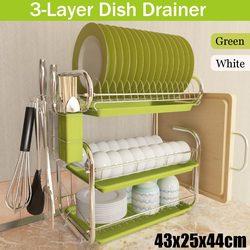 Полка для посуды из нержавеющей стали с 3 ярусами, полка для хранения посуды, корзина, покрытый металлом нож, сушилка для раковины, органайзе...
