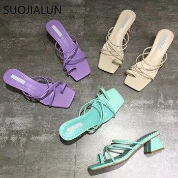 SUOJIALUN Summer Women Slippers Fashion Narrow Band Open Toe Low High heels Shoes Sandal Casual Outdoor Beach Flip Flops