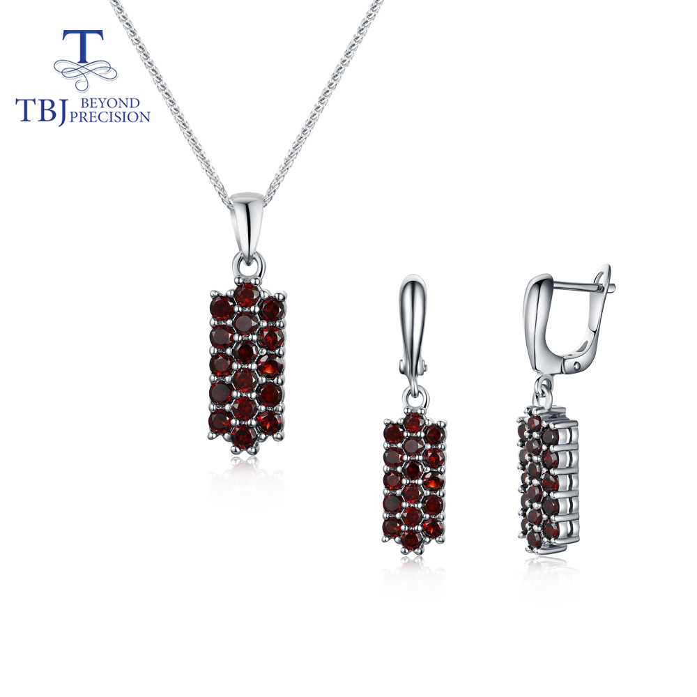 New Natural garnet jewelry set 925 sterling silver pendant and Clasp earrings fine jewelry nice gift for girl tbj promotion