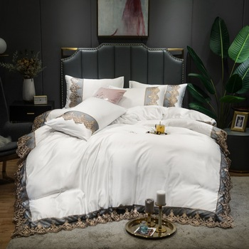2020 Luxury 2 or 3 or 4pcs Lace  Bedding Set  Duvet Cover Set with Flat Sheet Zipper Closure Twin Queen King 7 patterns