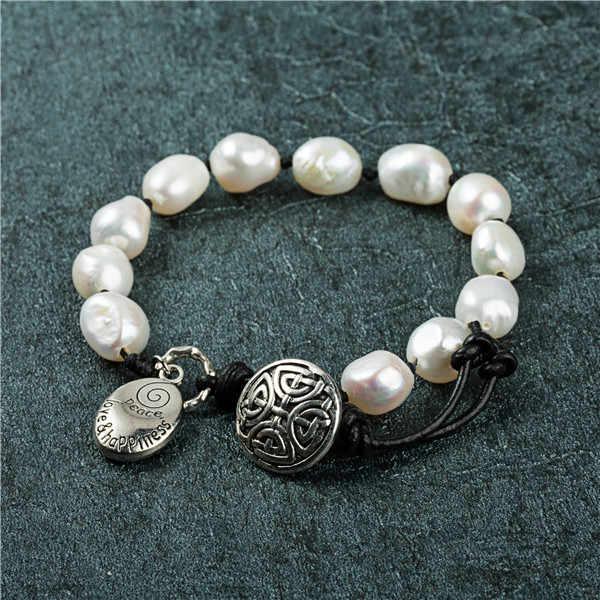 Styl boho Natural prawdziwa bransoletka perłowa Geniune skórzana regulowana bransoletka długość bransoletka dla kobiet prezent na dzień matki